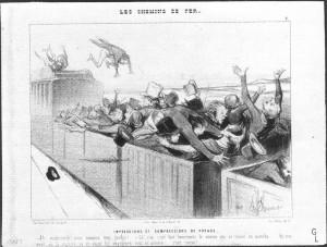 Honoré DAUMIER, Impressions et Compressions de Voyage, dans les Chemins de Fer (1ére série), Le Charivari, 25 Juillet 1843