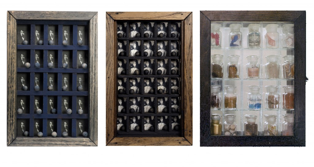 Joseph Cornell, Untitled (Caravaggio Boy), 1953. Private Collection, Chicago. —. Untitled (Medici Box), 1950. Private Collection, Chicago. —. Untitled (Pharmacy). Box construction: wood, glass, mirror, shells, sand, printed paper, coral, cork, feather, metal, and liquid, 1953. MOMA.