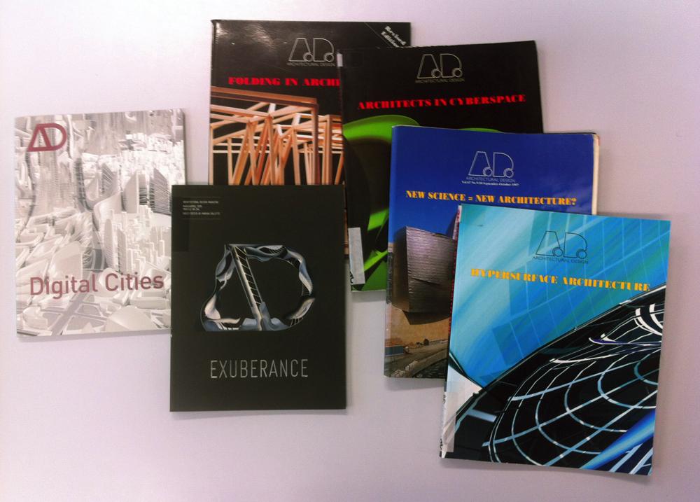 Quelques numéros représentatifs, récents et anciens, de la revue britannique Architectural Design.