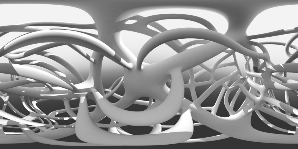 Marcos Novak, Digital panorama based on Turbulent Topologies.