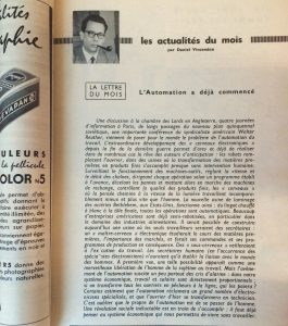 Editorial de Science et Vie, numéro de mai 1956